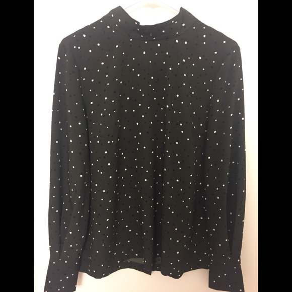 H M Tops Hm Green Polka Dot Blouse With Buttons On Back Poshmark